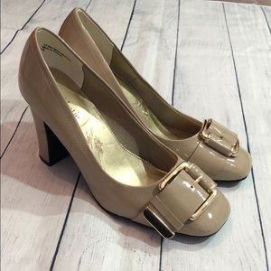 Kelly & Katie Tan Patent Leather Buckle Heels